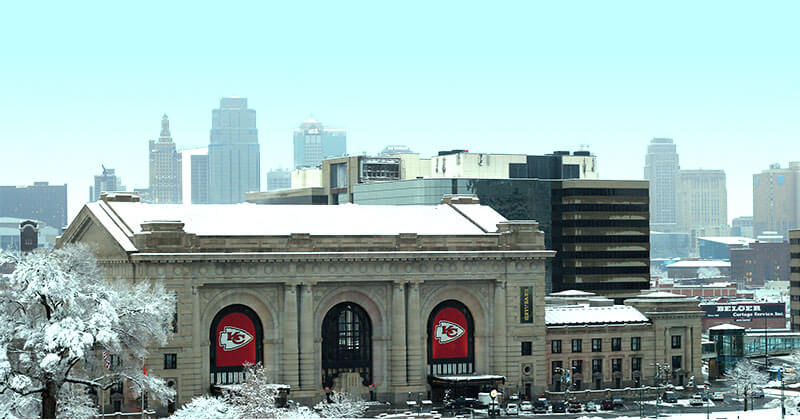 The exterior of Union Station Kansas City during winter in Kansas City, MO