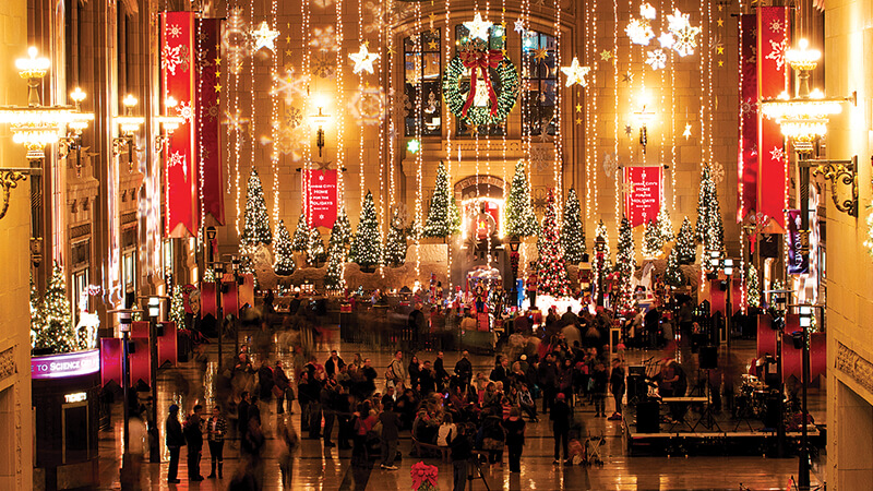 Christmas trees on display at Union Station in Kansas City, MO