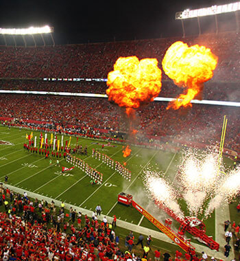 A fire and firework display during a Kansas City Chiefs home football game at Arrowhead Stadium in Kansas City, MO