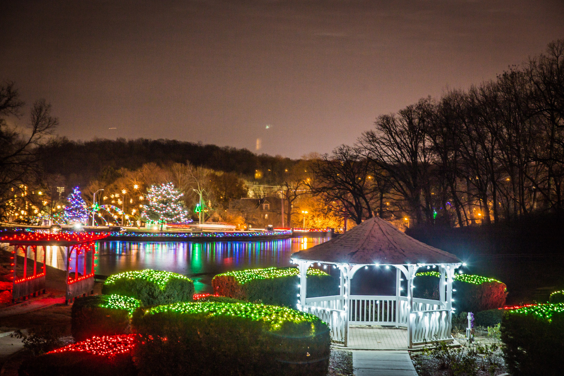 Colored lights on display at Krug Park during its transformation into Holiday Park in St. Joseph, MO